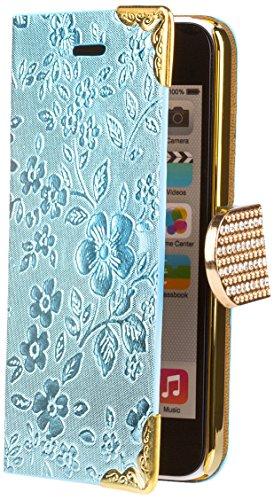 iCues Apple iPhone 5C |  Chrom Blumen Tasche Pink | [Display Schutzfolie Inklusive] Floral Strass Glitzer Glitter Luxus Bling Damen Frauen Mädchen Chrome Book Klapphülle Schutz Etui Handytasche zum au Chrome Wallet Light Blue