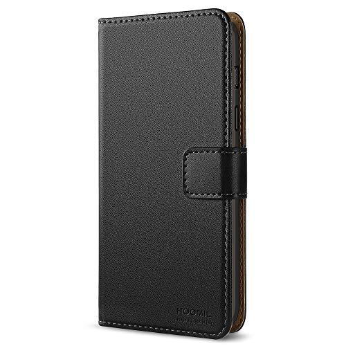HOOMIL OnePlus 6 Hülle Leder Flip Case Handyhülle für OnePlus 6 Tasche Brieftasche Schutzhülle - Schwarz (H3289)