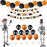 Tumao 33 Stück Halloween Partei Dekorationen,Gruselige Ballons in Orange und Schwarz, Grusel Girlande,Seidenpapier Pompoms, Ideale Deko Artikel Auch für Motto Partys.
