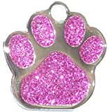 Engraved 27mm PINK GLITTER PAW PRINT Pet ID Tag - ENGRAVED & POSTED FREE by M&K Supplies. Cat Dog Shape Design Identity Gift