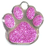 Engraved 27mm PINK GLITTER PAW PRINT Pet ID Tag...