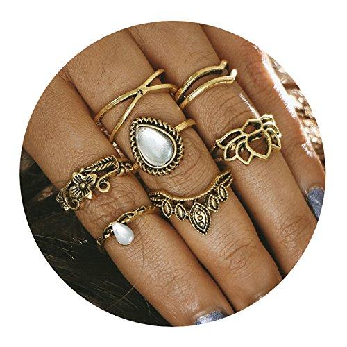 AMDXD 7 Stücks Ringe Set Damen Zirkonia Tropfen Blume Midi Ring Gold Ring Set Vintage (Blume Ring Gold)