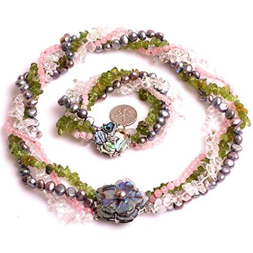 Kristall Klar Quarz Halskette (Weiß Bergkristall klar Kristall, Pearl, Peridot Kristall, Rose Quarz Halskette Armband Schmuck Sets (Mehrfarbig))