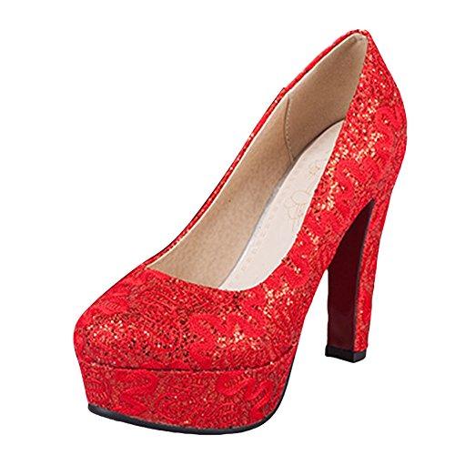 Mee Shoes Damen Pailleten high heels Plateau Pumps Rot