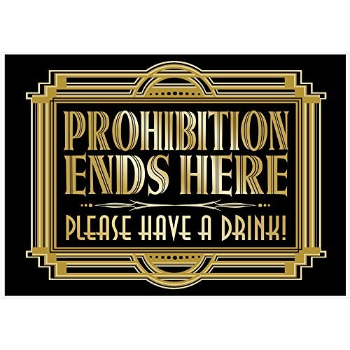 """Musykrafties Party-Poster im Stil von """"Der große Gatsby"""", Schilder, A3, 40,6x 30,5cm Prohibition Ends Here"""