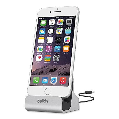 Belkin Lightning Lade/Sync-Dockingstation (mFI-zertifiziert, incl 1,2m USB-Kabel, geeignet für iPhone 8, iPhone 7, iPhone 6/6s, iPhone 5/5s/5c, iPhone SE) silber (Iphone-docking-station)