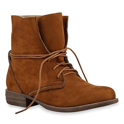 Damen Stiefeletten Schnürstiefel Worker Boots Velours Schuhe Hellbraun