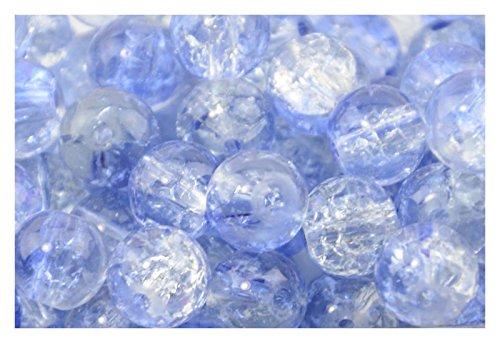200pcs 4mm Blue & Clear Crackle ...