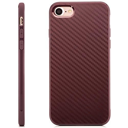 Coque iPhone 7 Case Silicone Cover Carbon Design Housse en TPU Mince Protecteur Bumper et pare-chocs Protection pour modèle 4.7 pouces - Bleu foncé Lilas