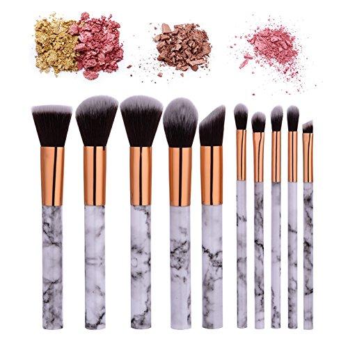 KISSION 10pcs Brosse Cosmetiques Maquillage Pinceaux Sets-Configuration de Marbre