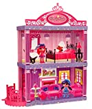 Toyshine DIY Double Story 2 in 1 Doll House Toy, 2 Dolls Included