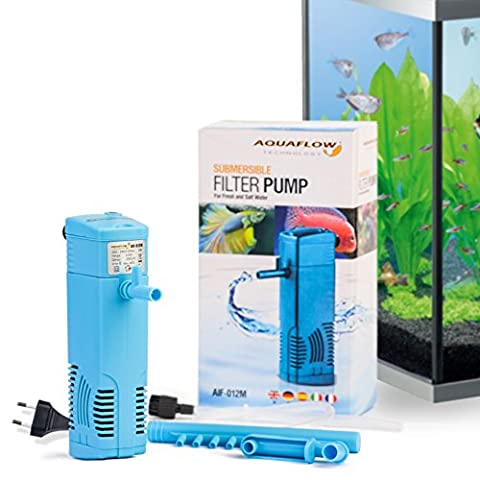Aquaflow Technology® AIF-012M - Unterwasser-Aquariumsfilterpumpe für Frisch- und Salzwasser. Für Aquariumbehälter bis zu 20-50 Liters. 300 l/h