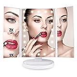 Espejo de Maquillaje, AONOKOY–Juego de espejos de maquillaje con luz LED 1x/2x/3x aumentos, espejo con pantalla táctil, ajustable 180° y desmontable, con cable USB