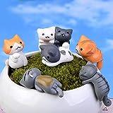 Gogagoda 6pcs Topfpflanze Moos Deko glückliche Katze DIY Garten Ornamente Mini Gartenfigur Dekofigur Statue