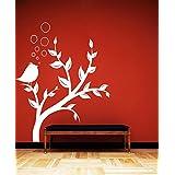 DECOR Kafe Home Decor Bird Tree Wall Sticker, Wall Sticker For Bedroom, Wall Art, Wall Poster (PVC Vinyl, 58 X 63 CM)