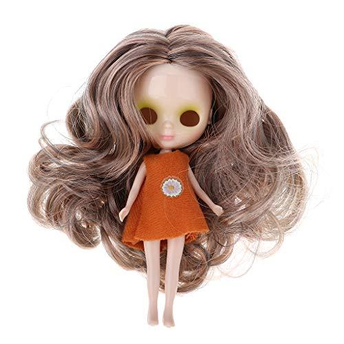 FLAMEER 11 cm Mädchenpuppe Nackte Körper, Kopf mit Perücke und Puppenkleidung Für Mini Blythe Puppe DIY Herstellung Zubehör (Blythe-puppe, Kopf)