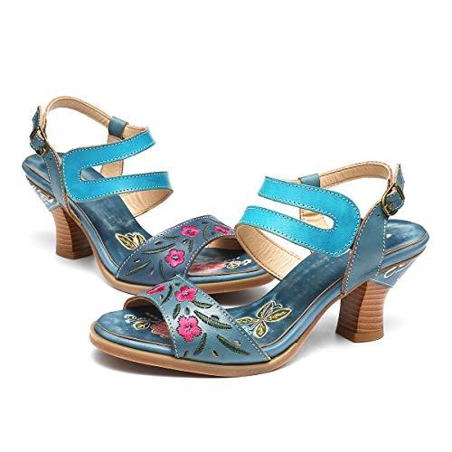 Gracosy sandali infradito da donna in pelle estate spiaggia in boemia stile 2019 scarpe tacco alto punta della sandali strass sandali taglia 37-42 azul viola marrone con comoda suola