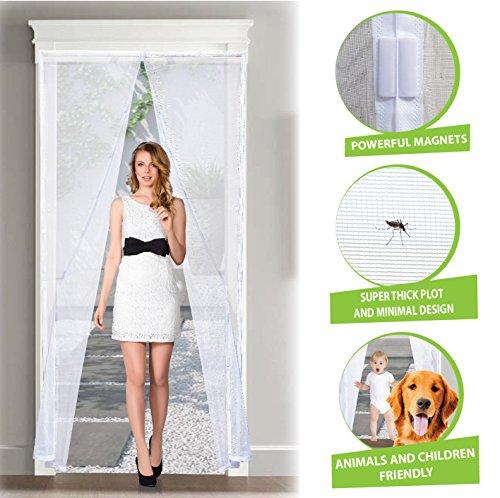 Zanzariera magnetica per porte premium – tessuto in vetroresina, la più resistente e fitta del mercato di design minimal, 120 x 230 cm con velcro easyfix bianca by arcol (120x230 cm)