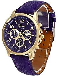 Kinlene Unisex casual faux de Ginebra Relojes de cuarzo reloj de muñeca de cuero analogico de Gancho Relojes (Purple)