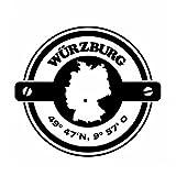Wadeco Koordinaten rund Würzburg Wandtattoo Wandsticker Wandaufkleber 35 Farben verschiedene Größen, 63cm x 57cm, goldgelb