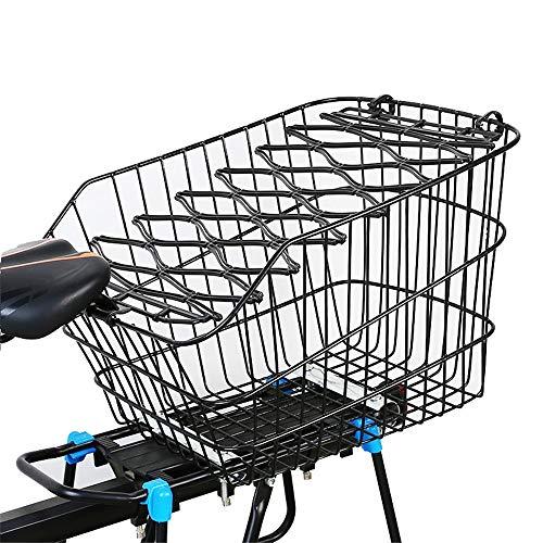 Bangxiu-Bicycle Fahrradkorb Vorderrad Metall Fahrrad Einkaufstasche Mit Deckel Fahrradträger Korb Fahrrad Hinten Tasche Hinten Zubehör Fahrrad City Korb (Farbe : Schwarz, Größe : 36x25x31cm)