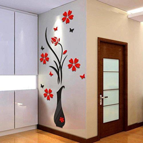 DIY Vase Blumen Baum Kristall Arcylic 3D Wandaufkleber Aufkleber Home Decor,Wandaufkleber Aufkleber Haus Dekoration,3D Hohlwandaufkleber Kühlschrank (mehrfarbig A)