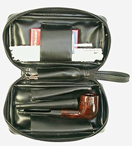 Black Leatherette Tobacco Pipe Kit With Filters Cleaners Tool Pouch