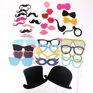 36pcs Masque avec bâton plastique pour Masquerade moustache lèvre lunettes loup