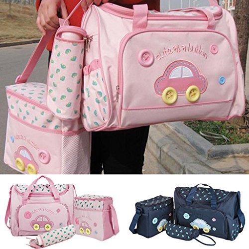 Homyl 4-teilige Buggy Kinderwagen Organizer Multifunktionale Tasche Wickeltasche Windeltasche Pflegetasche Reisetasche für Baby - Rosa