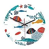 Vosarea Orologio da parete acrilico animale orologio silenzioso per salotto camera ristorante muro decoro (Pesci di mare)