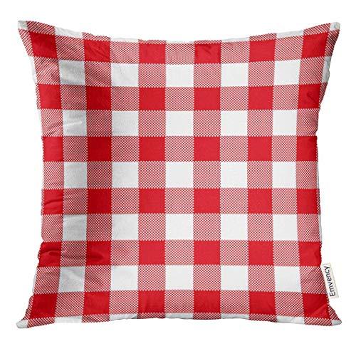 bezugWeiße Zusammenfassung des roten Karierten Gingham-Tabellen-Weinlese-Retro- angeredeten traditionellen Musters auch für Serviette Decor Square Accent Pillowcase 45x45 cm ()