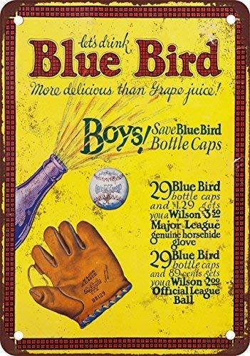SIGNCHAT 1933 - Targa in Metallo con Uccellino Blu zumo de UVA y de béisbol de de Metal 20 x 30 cm