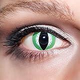 KwikSibs farbige Kontaktlinsen, grün, Schlange, weich, inklusive Behälter, BC 8.6 mm / DIA 14.0 / 0,00 Dioptrien (ohne Stärke), 1er Pack (1 x 2 Stück)
