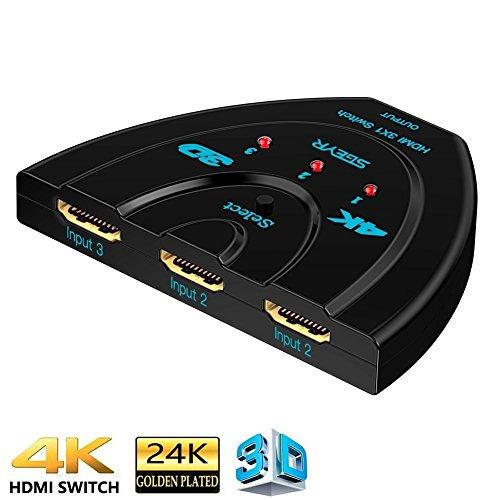 HDMI Switch 3 Port 4 K, sgeyr 4 K HDMI Switch 3 x 1 mit Pigtail Kabel unterstützt 4K/2160p/1080p/3D für PS4/PS3/Xbox/STB/Apple TV/DVD Player/Laptop