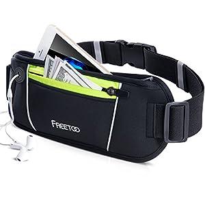 FREETOO Sport Hüfttasche Laufen Gürteltasche Flache Bauchtasche mit Kopfhöreranlass passt alle Handys unter 6 Zoll Must Have Accessoire für Damen und Herren auf Sport und Joggen Anwenden