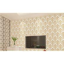 Despegar y pegar diseño de damasco papel pintado autoadhesivo PVC Papel de contacto cajón estante maletero para el hogar pared arte Decal (23,4x 169inch, amarillo)