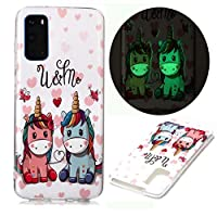 ‏‪Mylne Luminous Effect Back Case Cover for Samsung Galaxy A51,Noctilucent Glow in the Dark Green Soft Slim TPU Gel Flexible Bumper,Cartoon Unicorn‬‏