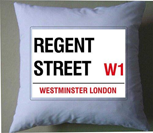 Regent Street Londres Angleterre Street Road Sign Retro Style shabby chic Housse de coussin