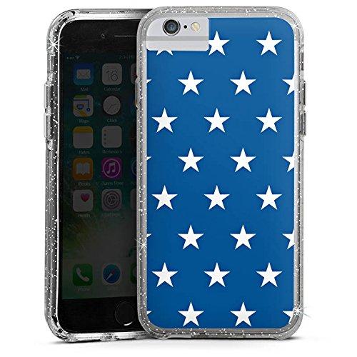 Apple iPhone 6 Bumper Hülle Bumper Case Glitzer Hülle Stars Sterne Marine Bumper Case Glitzer silber