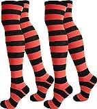 normani 2 Paar Damen Overknee Überknie uni in Schwarz oder Weiß Farbe Schwarz/Rot/Breit