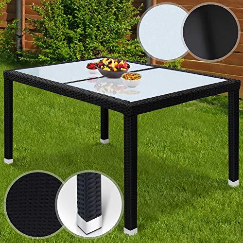 Miadomodo Table de Jardin Polyrotin | Aluminum, 130x90x74 cm, en Noir, avec Plateau en Verre Blanc Laiteux ou Noir | Table pour Extérieur, Table en Résine Tressée