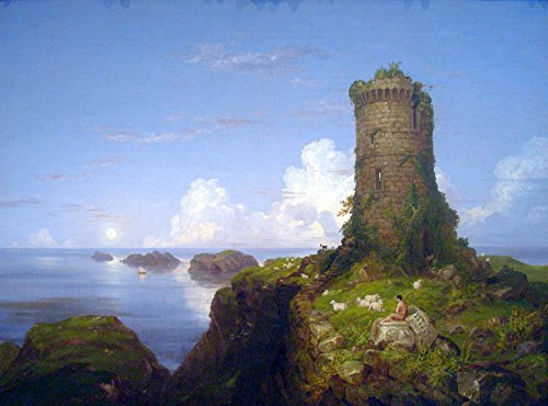 Das Museum Outlet - Italian Coast Scene With Ruined Tower - Thomas Cole - Leinwanddruck Online kaufen (76,2 x 101,6 cm)