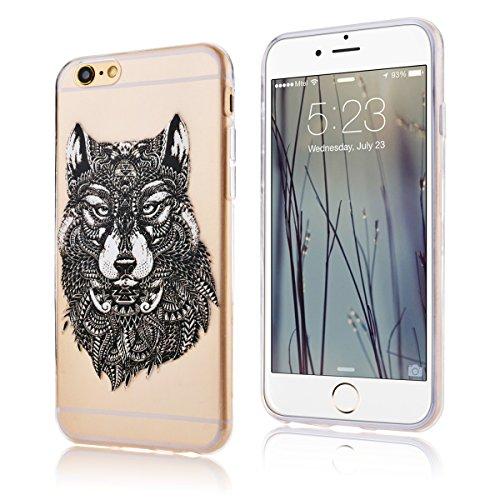SMARTLEGEND Ultra Slim TPU Handy Tasche für iphone6 (4.7 Zoll) Weich Case Schön Design Muster Hülle Flexible Transparent Material Soft Schutzhülle - Löwenzahn Wolf