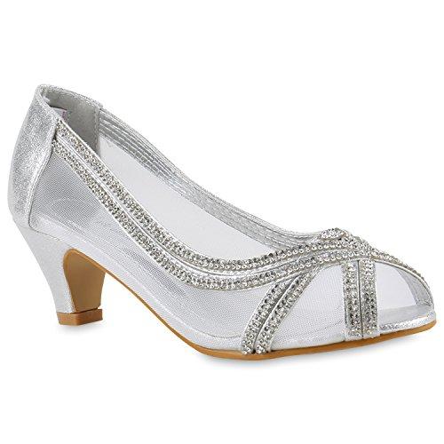 Klassische Damen Pumps Kitten Heels Lack Peeptoes Strass Abend Braut Transparent Stilettos Schuhe 143431 Silber Strass 28 Flandell (Front-peep-toe)