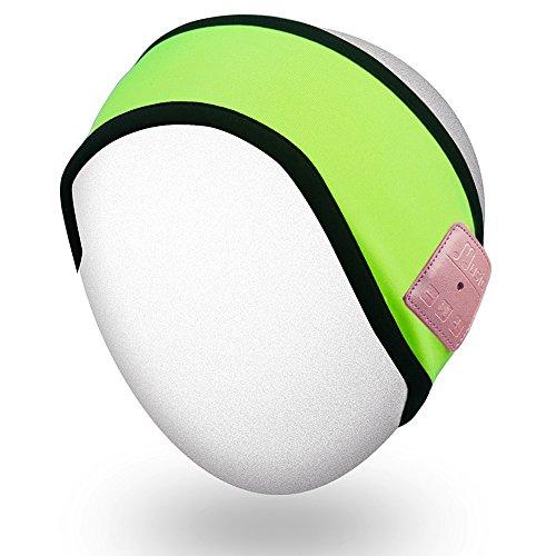 Rotibox Im Freien Bluetooth Stirnband - Laufendes Stirnband Freisprechen mit Bluetooth Stereolithographie-Lautsprecher Kopfhörer, Mikrofon, Hände geben für im Freiensport frei Laufen Skifahren Snowboard-Kampieren - Kompatibel mit iPhone, iPad, Samsung, Tabletten, Smartphones - Neon Grün