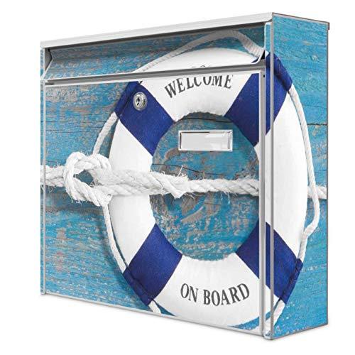 Burg Wächter Design Briefkasten | Postkasten 36 x 32 x 10cm groß | Stahl weiß verzinkt mit Namensschild | großer A4 Einwurf, 2 Schlüssel | Motiv Blauer Rettungsring | mit silbernem Ständer
