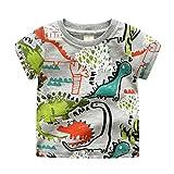 Yiiquan Bambino Estate Maglietta Manica Corta Carina Stampa Casuale T-shirt Dinosauro 120cm