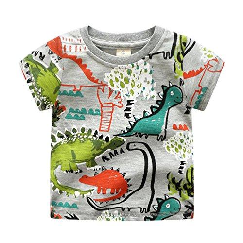 Yiiquan Bebé-niños Verano Camisa Impresión Ropa Tops Manga Corta Camisetas Dinosaurio 120cm