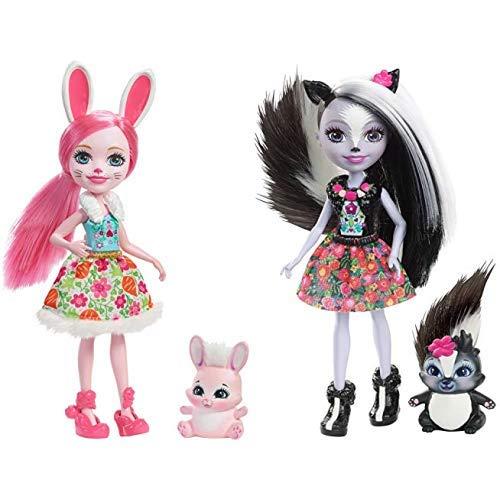 Mattel Enchantimals DVH88 Hasenmädchen Bree Bunny, Puppe & Enchantimals Mattel DYC75 - Stinktiermädchen Sage Skunk, Puppe