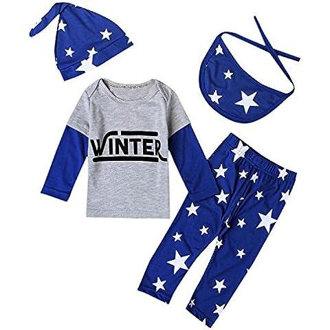 ZARU Estrellas Imprimir Kid Recién Nacido Bebé trajes de ropa de manga larga Conjunto (Tops + Pantalones + Sombrero + Babero)